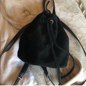 Black Suede Mini Back Backpack